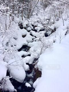 雪山と小川の写真・画像素材[913917]