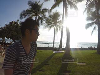 ヤシの木の前に立っている男の写真・画像素材[915009]