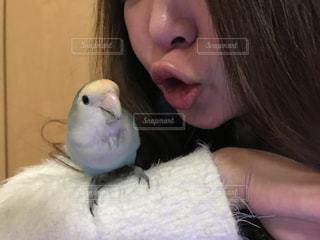 小鳥と女性の写真・画像素材[974575]