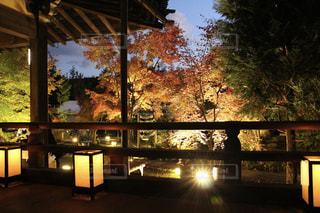 窓の前で夜の街の景色の写真・画像素材[921785]