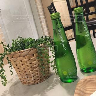 緑のガラス瓶と観葉植物の写真・画像素材[922254]