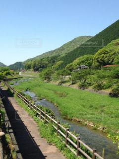 緑豊かな丘の中腹に大きな長い列車 - No.931129