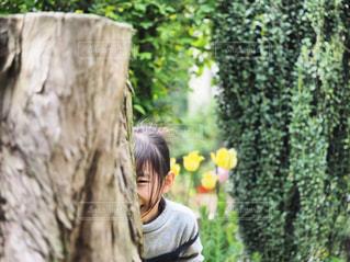 木の後ろに隠れる女の子の写真・画像素材[2109882]