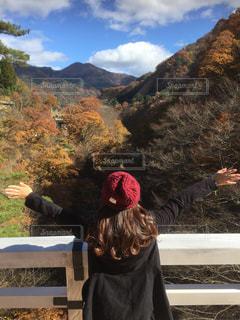 渓谷の橋の上で両手を広げる女性の写真・画像素材[928876]