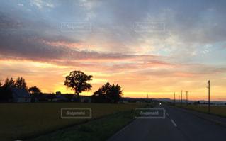 背景の夕日と道路 - No.929041