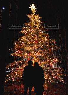 クリスマスツリーとカップルのシルエットの写真・画像素材[935465]