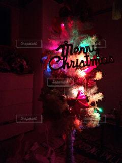 暗い部屋でクリスマス ツリーのアップの写真・画像素材[933889]