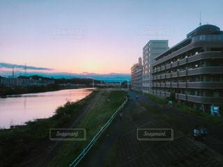 夕方の多摩川の写真・画像素材[1575553]