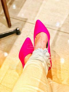 お気に入りのピンクのパンプスの写真・画像素材[1067286]