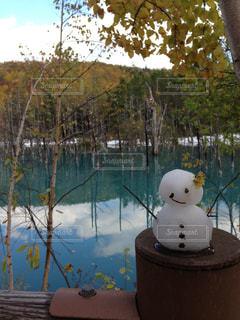 青い池と雪だるま - No.950451