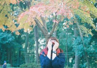 木の隣に立っている人の写真・画像素材[947179]