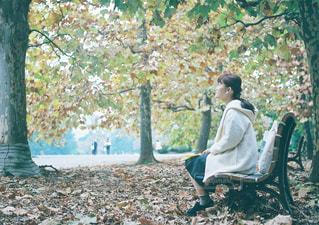 ベンチに座っている人の写真・画像素材[1002220]