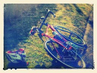 朝日を浴びる赤いロードバイクの写真・画像素材[952063]