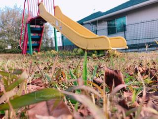 芝生とすべり台の写真・画像素材[953417]