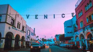 サンセットタイムのベニスビーチの写真・画像素材[1216107]