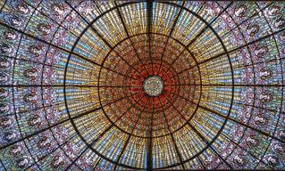 カタルーニャ音楽堂のステンドグラスの写真・画像素材[2141503]