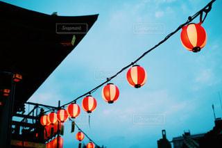 お祭りの赤提灯の写真・画像素材[1425038]