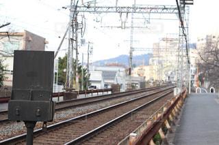 まっすぐ線路の写真・画像素材[968912]