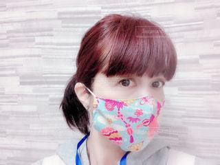ちりめんの立体マスクの写真・画像素材[3238287]