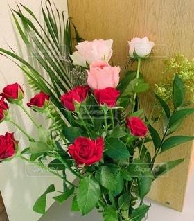 ピンクと赤い薔薇がメインのアレンジの写真・画像素材[3353560]