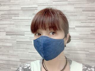 デニム立体マスクの写真・画像素材[3631616]