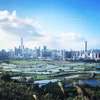香港側から深センを臨むの写真・画像素材[1683327]