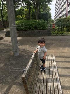 ベンチで立ち上がるゆうきボーイの写真・画像素材[1209271]
