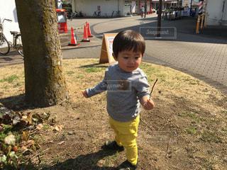草の中に立っている小さな男の子の写真・画像素材[1824376]