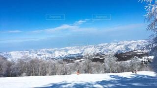 煙る山頂の雪をスノーボードに乗る男の写真・画像素材[972191]