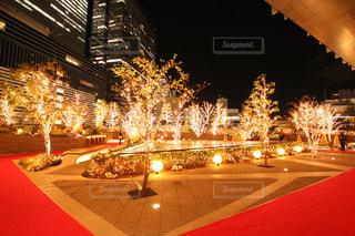 ビル街の屋上ライトアップの写真・画像素材[1679103]