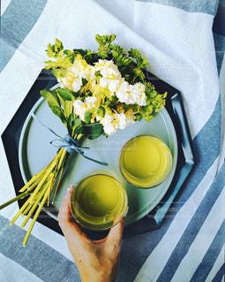 緑茶でひと息の写真・画像素材[1124939]