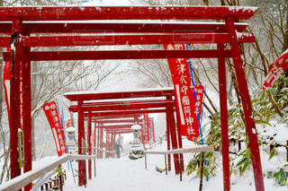 フェンスの前に大きな赤い椅子の写真・画像素材[990882]