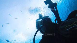水の中を泳いでいる人の写真・画像素材[1001499]