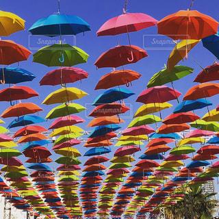 カラフルな傘の行の写真・画像素材[1205349]