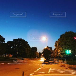 夜の街に信号機の写真・画像素材[1166366]