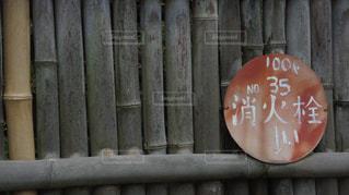 木製フェンスの上に座っている赤い消火栓の文字 - No.998438