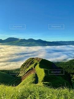 背景に山のある大きな緑の畑の写真・画像素材[3623038]