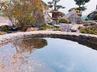 和風庭園の手水鉢と風景の写真・画像素材[1082898]