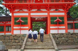 門の石段を登る人たちの写真・画像素材[1263692]