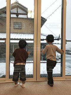 雪を見る子供たちの写真・画像素材[1695291]