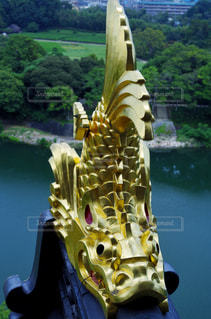 岡山城 天守 シャチホコの写真・画像素材[2402913]