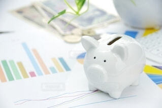 豚の貯金箱とお金 投資イメージの写真・画像素材[4082129]