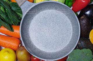 野菜とフライパンのコピースペースの写真・画像素材[4444300]