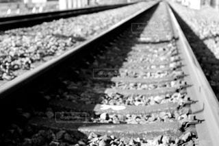 モノクロの線路の写真・画像素材[1005606]