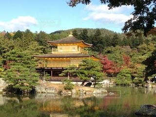 背景に金閣寺と木々 に囲まれた水の体の写真・画像素材[1006630]