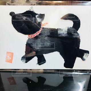 犬の隣に座って黒い熊の写真・画像素材[1026192]
