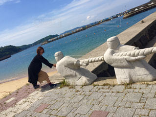 佐賀県呼子の海で綱引きの写真・画像素材[1014749]