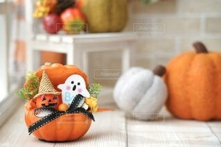 窓際のかぼちゃたちの写真・画像素材[4841308]