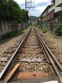 まっすぐな線路の写真・画像素材[1021937]