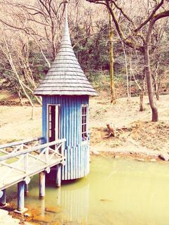 水辺の小屋で餌やりの写真・画像素材[1022047]